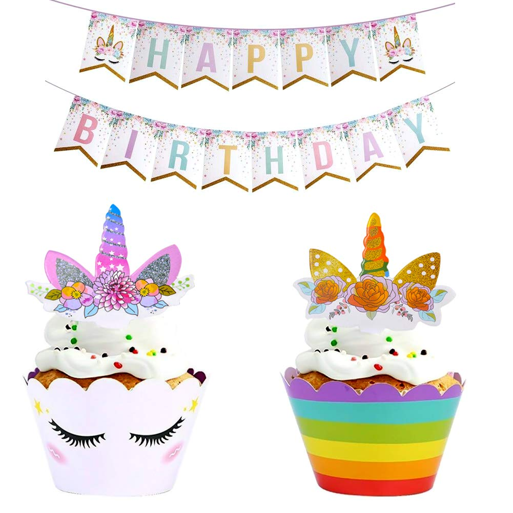 Cake Topper with Unicorn Happy Birthday Banner, Unicorn Cupcake Topper Horn and Ears Double Sided Wrappers, 24pcs Cupcake Decoration for Kids, Baby, Girls, Rainbow Themed Birthday, Halloween Christmas Party Cake Decor, Fairy Decoration Imanom