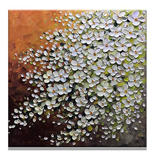 Fasdi-ART 100% Hand-Painted Contemporary Art Oil Painting On Canvas Texture Palette Knife Landscape Paintings Modern Home Interior Decor Abstract Art 3D Gold Flowers Paintings Ready to Hang ()
