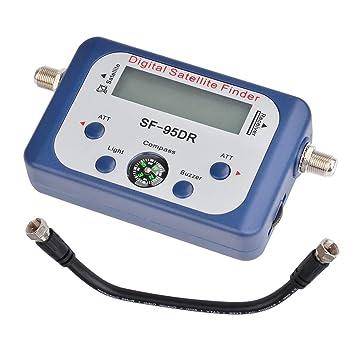 SKR Alta Sensibilidad De Entrada Buscador De Satélites SF-95DR-Satélite Finder Con Medidor, Pantalla LCD, Brújula+Cable De Conexión+Breve Manual Incluidos: ...