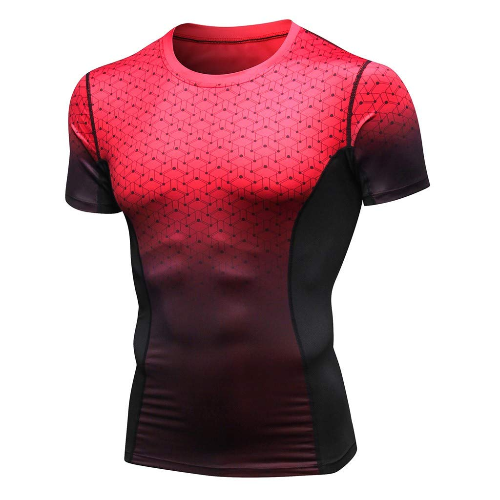 Zackate Mens Gradient Athletic Compression Under Base Layer T Shirt Cool Dry Short-Sleeve Workout Undershirts Red