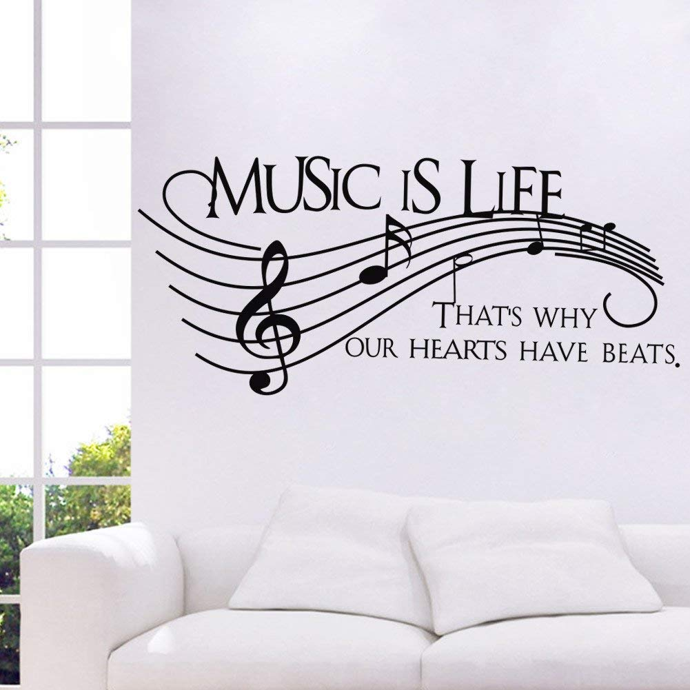 Homefind Musical Notes Walls Decals - Music is Life That's Why Our Hearts Have Beats - Stickers for Kids Bedroom Music Room Dance Room Vinyl Art Décor House Decoration (Black 51.1'' w x 22'' h) by Homefind (Image #5)