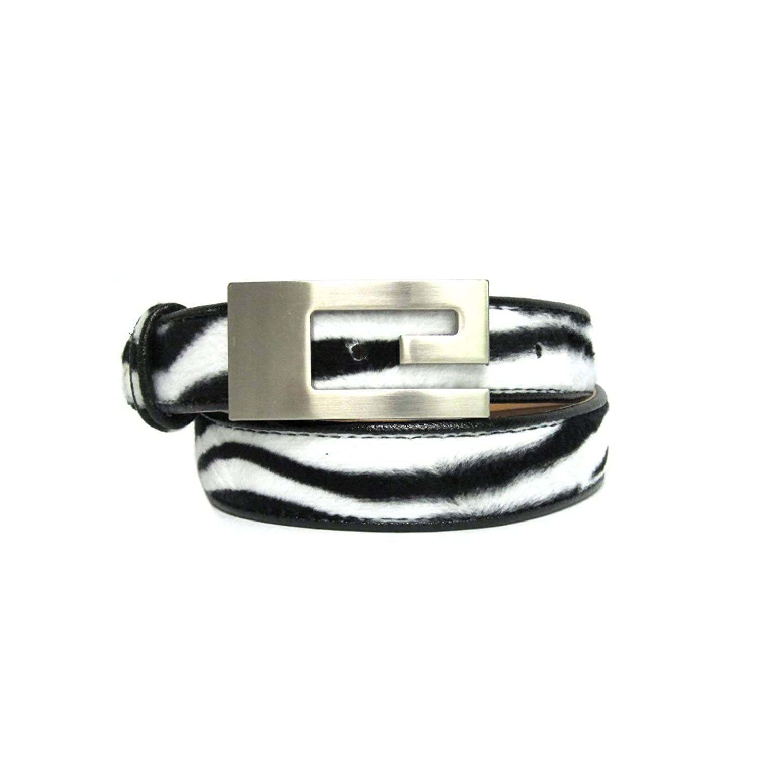 """1 1/8"""" Women's Silver Plated Cut Out Rectangle Buckle on Quality Zebra Faux F..."""