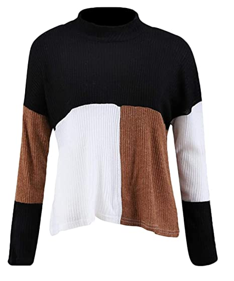 3ec32d82998be4 Frieed Women Winter Long Sleeve Pullover Casual Patchwork Knit Color Block  Turtleneck Sweater Black XS