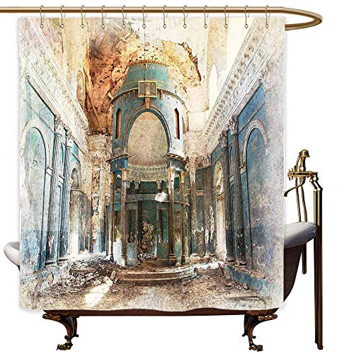 - SKDSArts Shower Curtains Black and White Stripes with Roses Antique,Old Ancient Renaissance Era Architecture with Columns Artwork Print,Petrol Blue Beige Marigold,W48 x L72,Shower Curtain for Girls