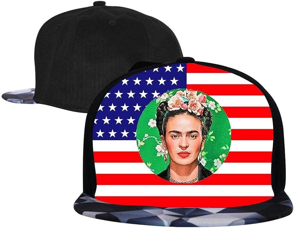 PASPTTO Frida Kahlo Hip Hop Hat Mens Fashion Full Frame 3D Print Adjustable Truck Driver Baseball Cap