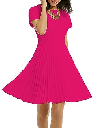 WOOSEA Womens Elegant Pleated Short Sleeves Cocktail Party Swing Dress - Purple - Medium