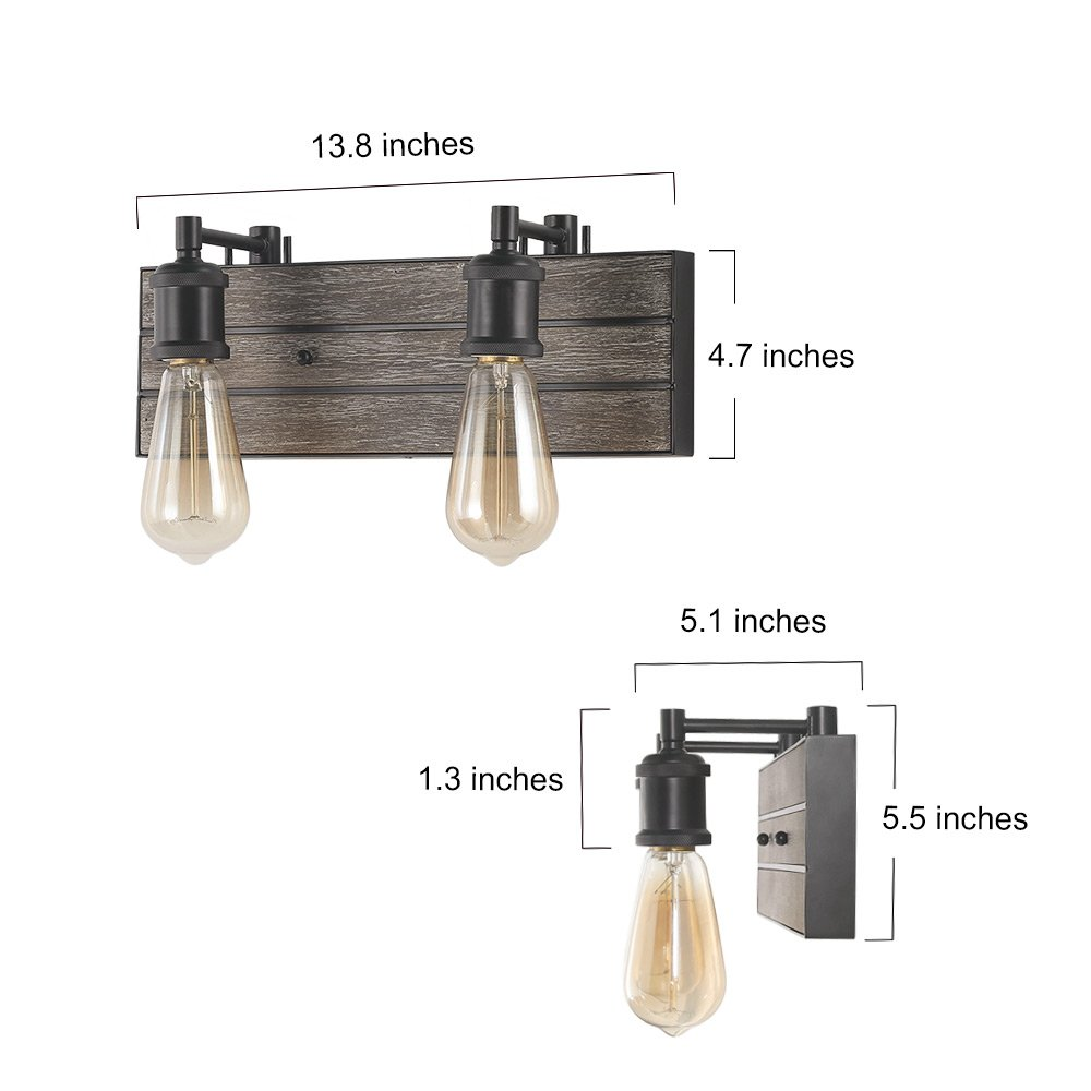 Barn Light Bathroom Vanity: LOG BARN 2 Lights Bathroom Vanity Light In Real Antique
