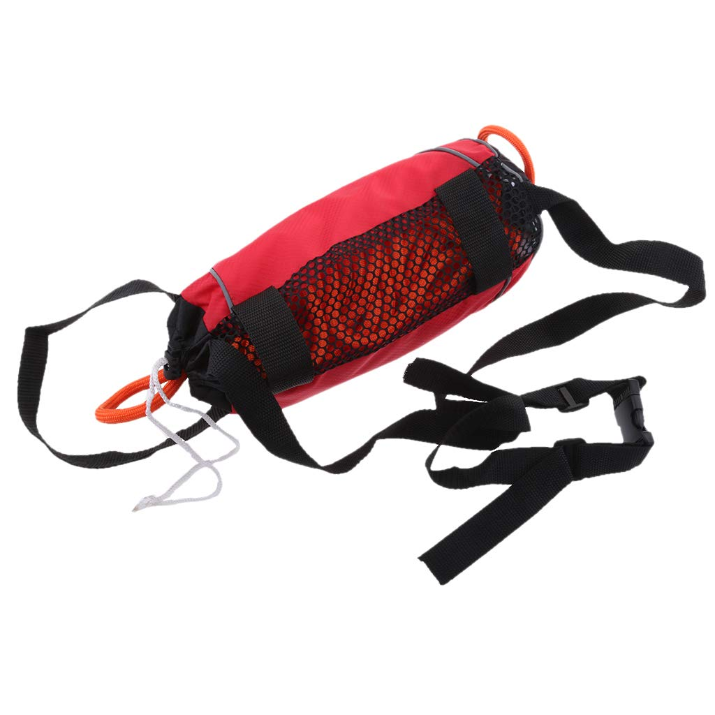 perfk Red 85ft Safety Water Reflective Rescue Throw Bag Floating Rope Line Kit