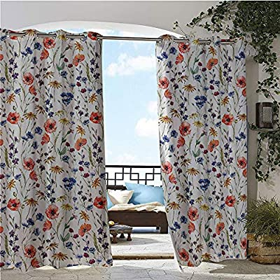 GUUVOR Outdoor Privacy Curtain for Pergola, Wildflowers Poppy Chamomile Cornflowers Daisies Countryside Fun Illustration Image, Thermal Insulated Water Repellent Drape for Balcony Coral Navy Blue