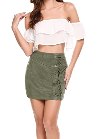 94e7dbbbd8 Womens Leather Vintage Lace up High Waisted Faux Suede Mini Skirt at ...