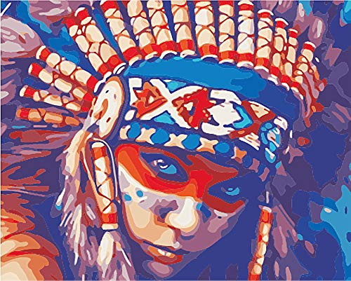 Native American Paint - Wowdecor Paint by Numbers for Adults Beginner Kids, Number Painting - Native American Indian Woman 40x50 cm - Wall Art Gifts
