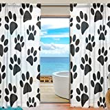 SEULIFE Window Sheer Curtain, Animal Dog Cat Paw Print Footprint Voile Curtain Drapes for Door Kitchen Living Room Bedroom 55x78 inches 2 Panels