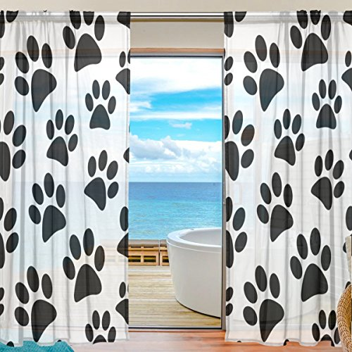 SEULIFE Window Sheer Curtain, Animal Dog Cat Paw Print Footprint Voile Curtain Drapes for Door Kitchen Living Room Bedroom 55x78 inches 2 Panels by SEULIFE