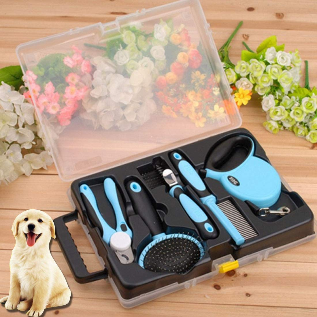 PDCH AY0 Pet Five Piece Set 3m Retractable Traction Rope + Combs + Detangling Comb + Gilling + Nail Clippers by PDCH