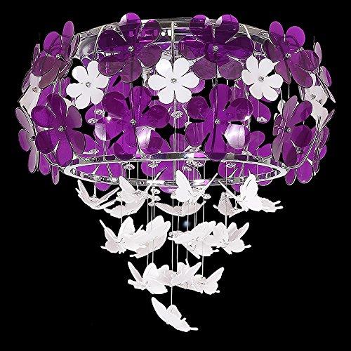 ZH Pendant Lights European Crystal Chandelier, Dining Room Living Room Bedroom Home Garden Flower Crystal Chandelier, 6055cmLED (Size : Purple 6055cm)