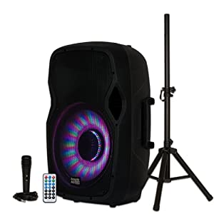 "Acoustic Audio by Goldwood AA15LBS Powered 15"" Bluetooth LED Light Display Speaker with Microphone and Stand"