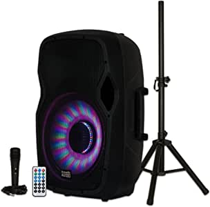 """Acoustic Audio by Goldwood AA15LBS Powered 15"""" Bluetooth LED Light Display Speaker with Microphone and Stand, Black, 16"""" x 14"""" x 27"""""""