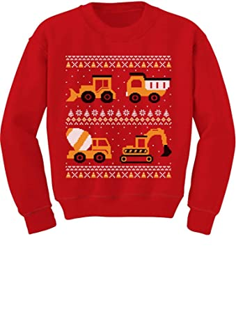 Baby Hoodies 6 Months TeeStars - Tractors & Bulldozers Ugly Christmas Sweater Toddler/Kids Sweatshirts 5/6 Red