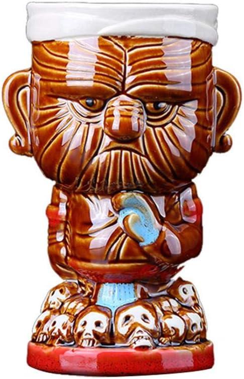 Tazas Tiki Taza de cóctel hawaiana de cerámica Juego de vasos Tiki Punch de verano Conjunto de jefes maoríes de temática hawaiana Taza de cóctel de cóctel Jarra de cerveza Cerveza Art Crafts 430Ml