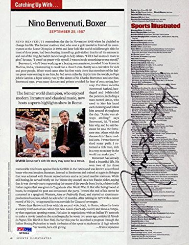 Nino Benvenuti Authentic Autographed Signed Magazine Page Photo Q95886 PSA/DNA Certified Autographed Boxing Magazines