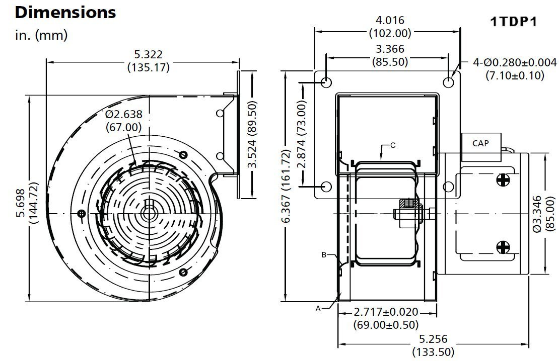 Dayton 1tdp1 Rectangular Permanent Split Capacitor Oem Specialty Rotom Canada Wiring Diagram Blower Tools Home Improvement