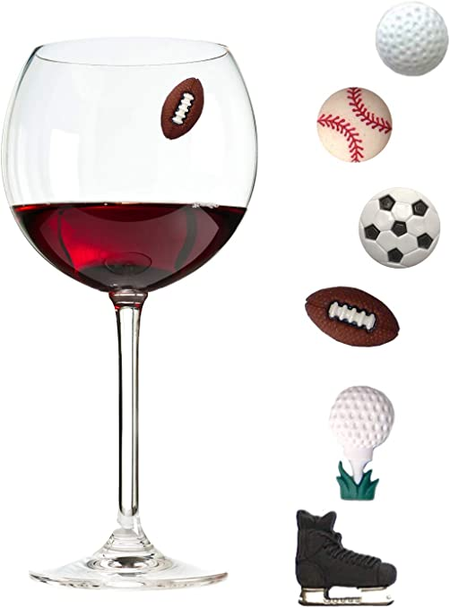 Simply Charmed Wine Glass Charms Set of 6 Fun Magnetic Wine Theme Drink Markers and Tags