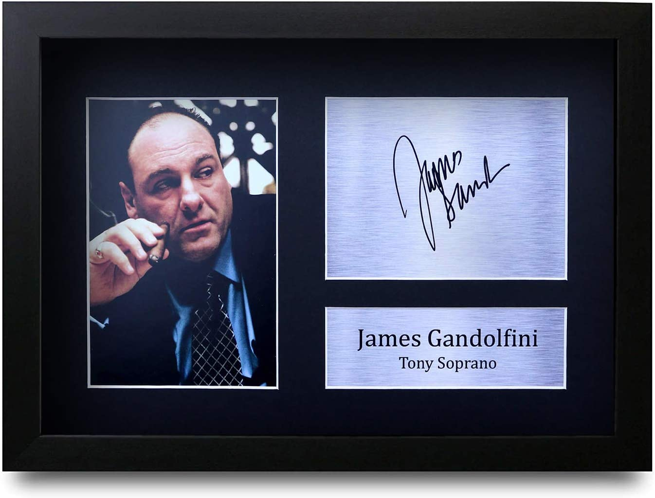 Hwc Trading James Gandolfini Gift Signed Framed A4 Printed Autograph Sopranos Gifts Photo Display Amazon Co Uk Kitchen Home