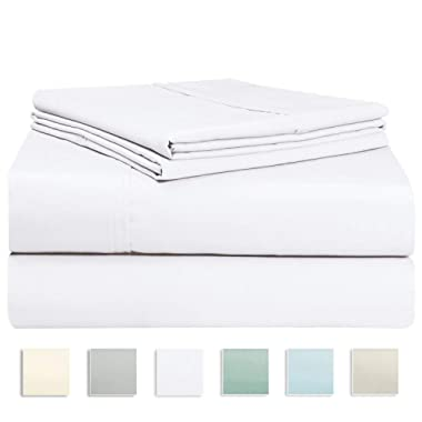 """Pizuna 400 Thread Count Cotton Sheets King White, 100% Long Staple Cotton White King Sheets, Luxurious Sateen Weave Cotton Bed Sheets Deep Pocket fit Upto 17"""" (White King 100% Cotton Sheets)"""