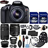 Canon EOS Rebel T6 18MP DSLR Camera with EF-S 18-55mm IS II Lens & EF 75-300mm Lens + 58mm HD Wide Angle Lens + 2.2x Telephoto + 2Pcs 32GB Commander Cards + Extra LP-E10 Battery + Backpack Case