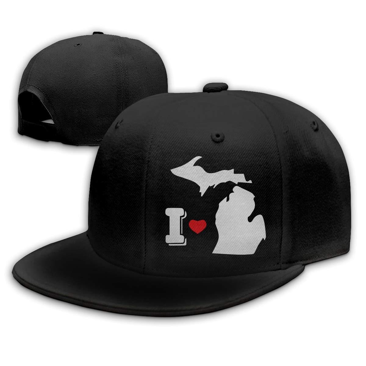 DAIAII Hombre Mujer Gorras de béisbol, I Heart Michigan Mens ...