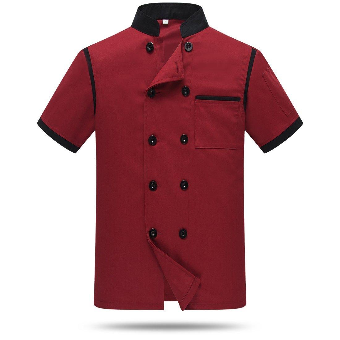 Chef Jackets Waiter Coat Short Sleeves Back and Underarm Mesh WAIWAIZUI