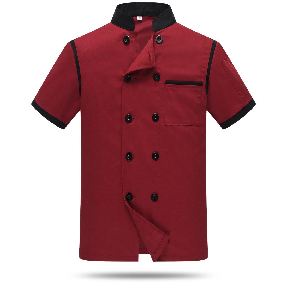 Chef Jackets Waiter Coat Short Sleeves Back and Underarm Mesh Size XXS (Label:M) Red by WAIWAIZUI