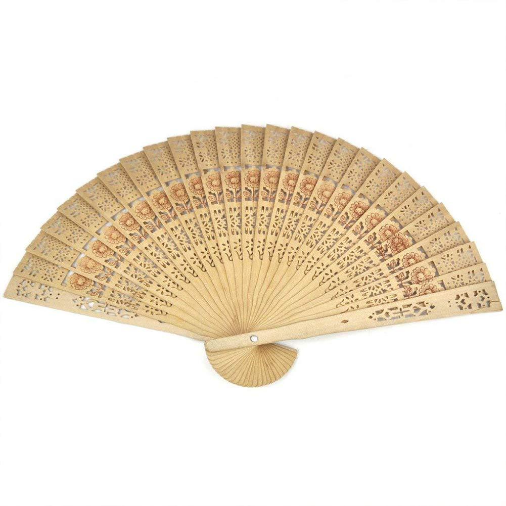 Beito Legno Pieghevole Modello Fan Fiore Cinese del Legno di Sandalo del Ventilatore colorato a Mano Tenere Ventaglio Pieghevole per bomboniera