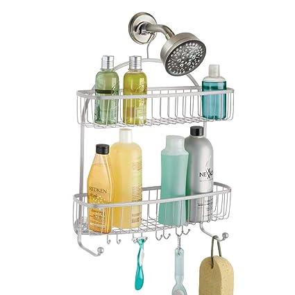 mDesign Organizador de ducha para colgar – Práctico estante para ducha de  metal resistente – Cesta 3f11958a6625