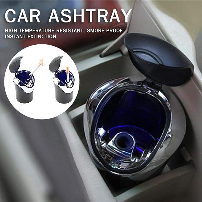 Einfache Reinigung Abnehmbarer Edelstahl Auto Aschenbecher mit Deckel Blaue LED-Licht f/ür die meisten Auto Getr/änkehalter Katurn N10 Auto Aschenbecher Schwarz
