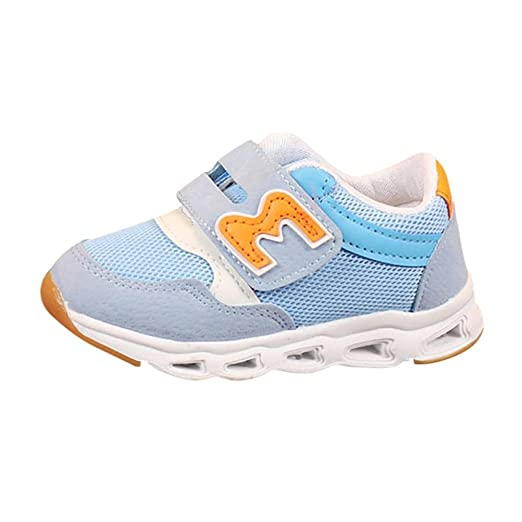LED Zapatos de Verano Xinan Zapatos de niños Zapatos de Malla de la Letra Zapatillas Luminosas LED Light Up para Mujer 1-4 años (22, Azúl): Amazon.es: ...
