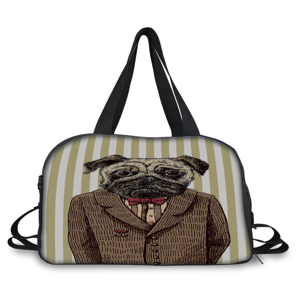 iPrint Travelling bag,Pug,Hand Drawn Sketch of Smart Dressed Dog Jacket Shirt Bow Suit Striped Background Decorative,Brown Pale Brown ,Personalized