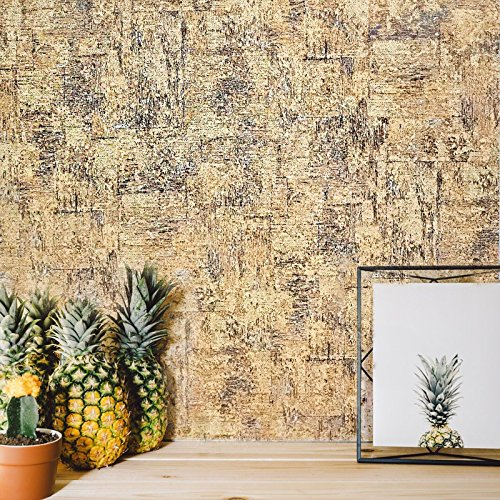 Modern Slavyanski Unique wallcovering roll rustic pattern like faux cork wood plain plaster textures Vinyl Non-Woven Wallpaper covering gray beige brown textured coverings 3D decor paste the wall only
