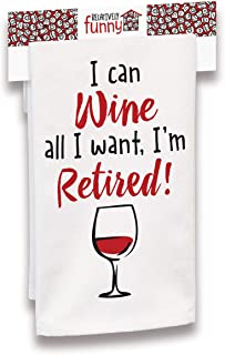 """product image for Imagine Design Relatively Funny I Can Wine All I Want, Heavy Weight 100% Cotton Kitchen Towel, 18"""" x 28"""", Red/Black/White"""