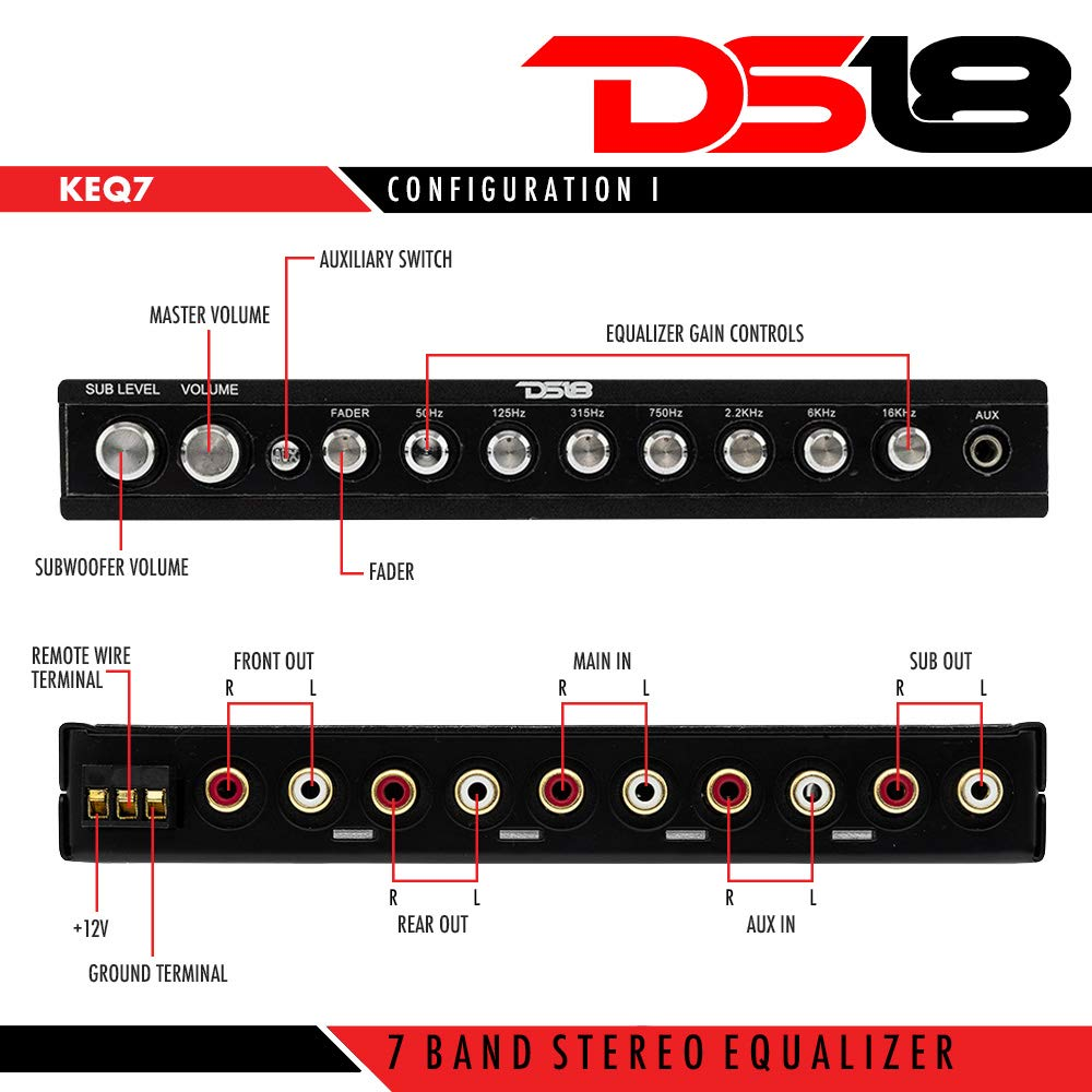 Ds18 Ds Keq7 Seven Band Pre Amplifier Equalizer Audio Graphic Equaliser Electronic Boy For You With Front Aux 7 Volt Rca Car Electronics