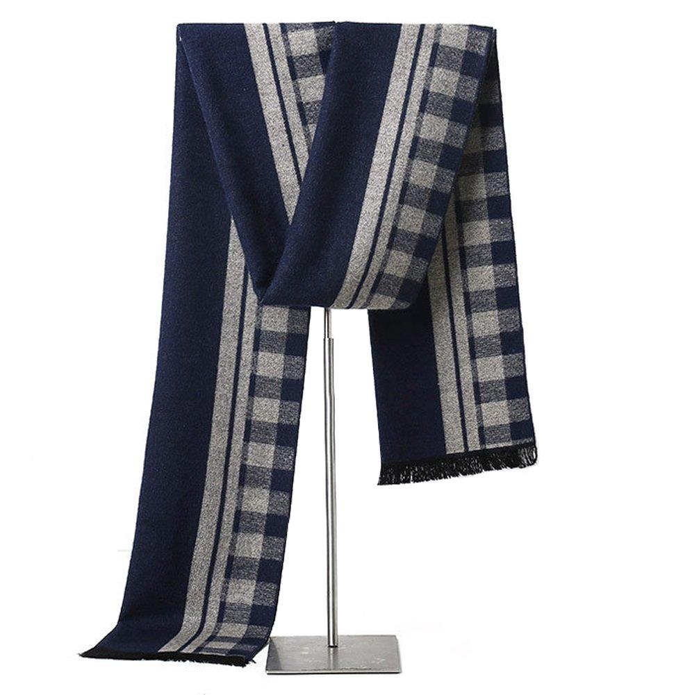 MuNiSa Men's Winter Scarf Plaid Stripes Long Cashmere Scarves with Tassel(Navy Grey)