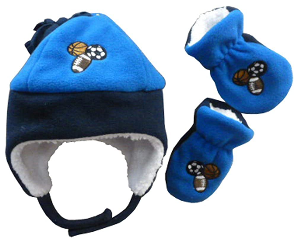 N'Ice Caps Boys Sports Balls Embroidered Sherpa Lined Fleece Set 2754