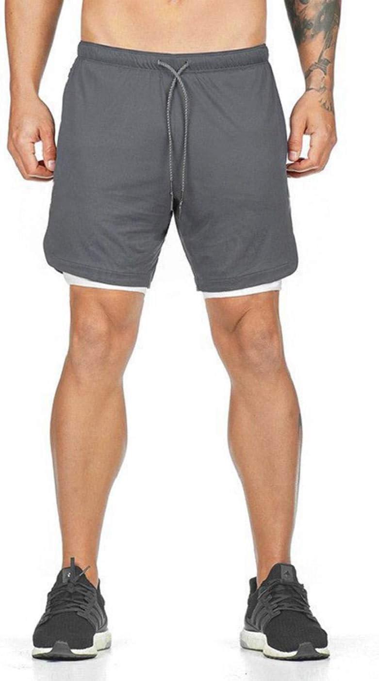 CMTOP Pantaloncini Corsa da Uomo Allenamento Ciclismo Fitness in Esecuzione Pantaloncini 2 in 1 con Tasche Sportivo Tuta Casual Doppio Strato Sport da Fitness Plastica Outdoor