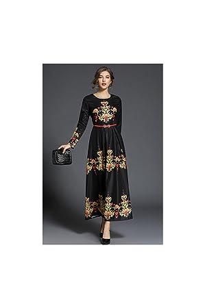 JUWOJIA Nuevo Muelle De Mujer De Gama Alta Posicionamiento Retro Impresión De Diseño Elegante Vestido Negro