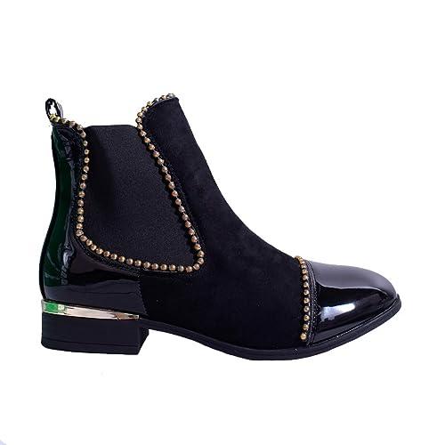 Botines para mujer o chica, tacón en bloqueo medio, oficina, escuela, tallas 34–38,5: Amazon.es: Zapatos y complementos