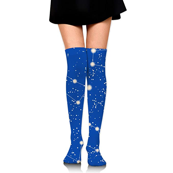 568c1a4bdb8 Amazon.com  Bright Blue Constellations Star Knee High Socks Cotton Sports Socks  Long Stockings For Party School Travel Outdoor Sports  Clothing