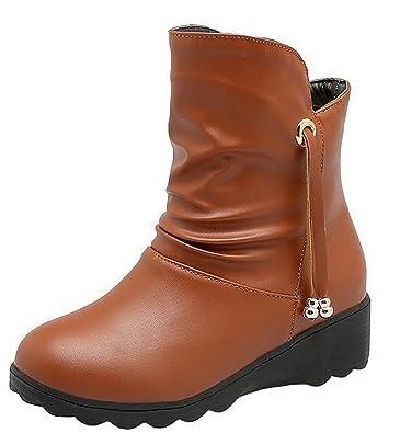 Damen Ziehen auf Rein Niedriger Absatz Niedrig-Spitze Stiefel,EuX119 Braun 36 AgeeMi Shoes