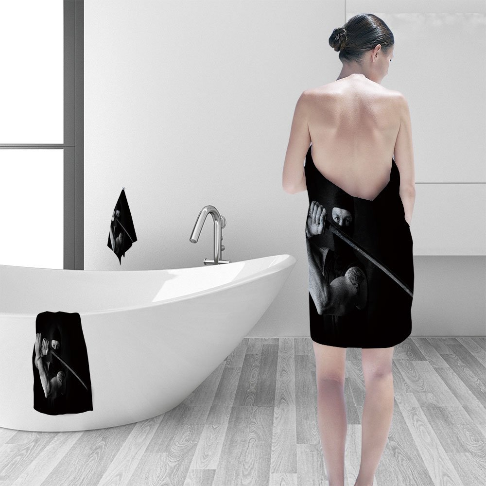 Amazon.com: Bath towel set portrait of muscle man ninja ...