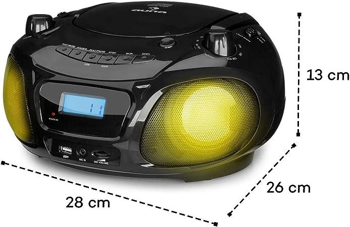 Auna Roadie /• Radio-CD /• Cha/îne st/ér/éo /• Boombox /• Lecteur CD /• Port USB /• MP3 /• Tuner Radio AM//FM /• Bluetooth 2.1//EDR /• Entr/ée RCA-AUX-Jack 3,5 mm /• /Éclairage LED Multicol