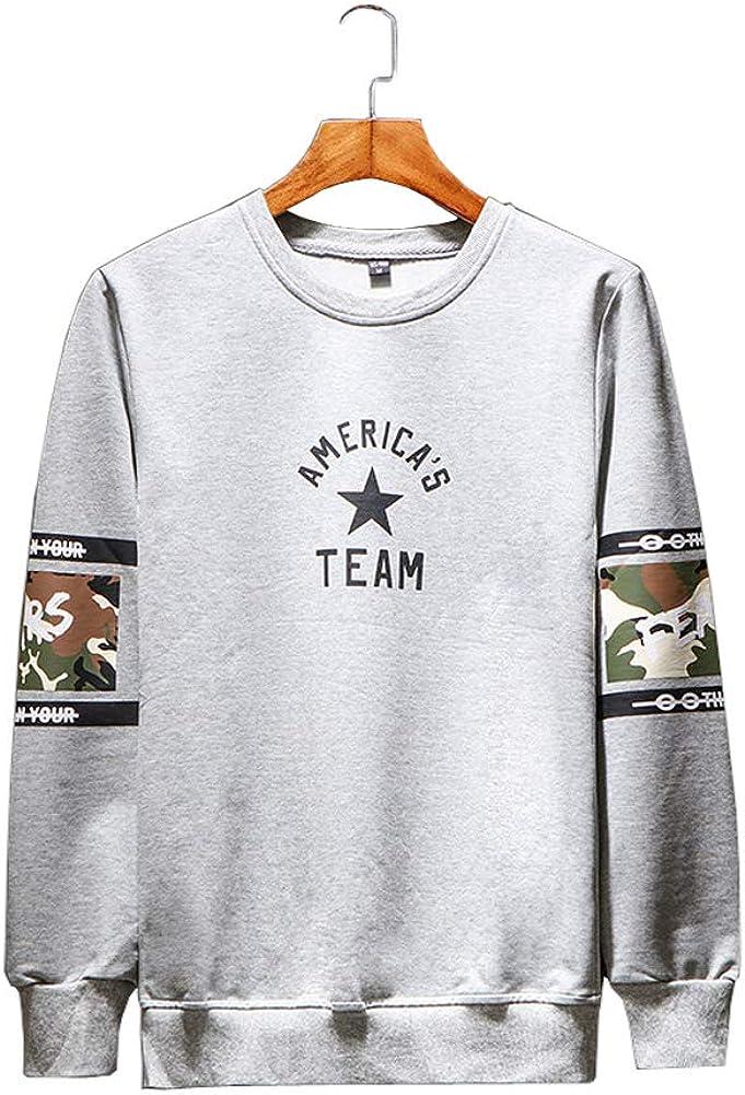 Michealboy Mens Solid Color Pullover Print Sweatshirts Cozy Sport Outwear
